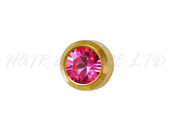 Studex Gold Plated Birthstone Earrings, 1 Pair 3mm - October (Rose)