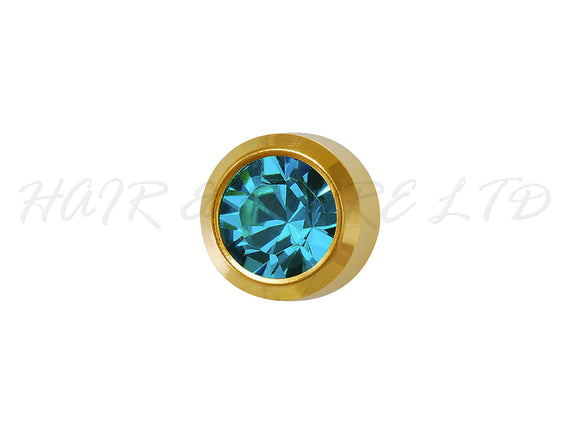 Studex Gold Plated Birthstone Earrings, 1 Pair 3mm - December (Blue Zircon)