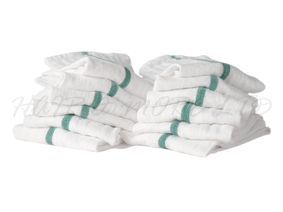 Barber Towels - White with Green Stripe 38cm x 66cm, 12 Pack