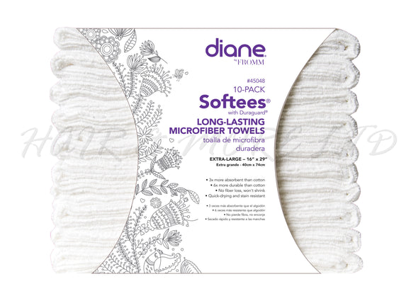 Diane Softees Microfibre Towels, 10 Pack - White