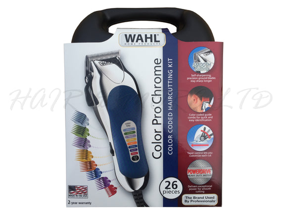 Wahl Colour Pro Corded Clipper Kit Chrome - Made in the USA