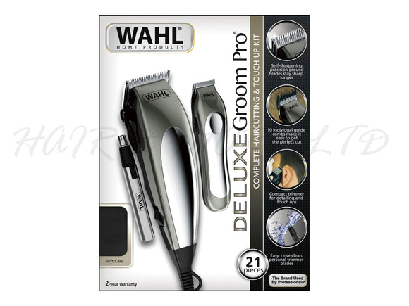 WAHL Deluxe Groom Pro 21pc Kit - Clipper, Detail Trimmer & Nose Hair Trimmer