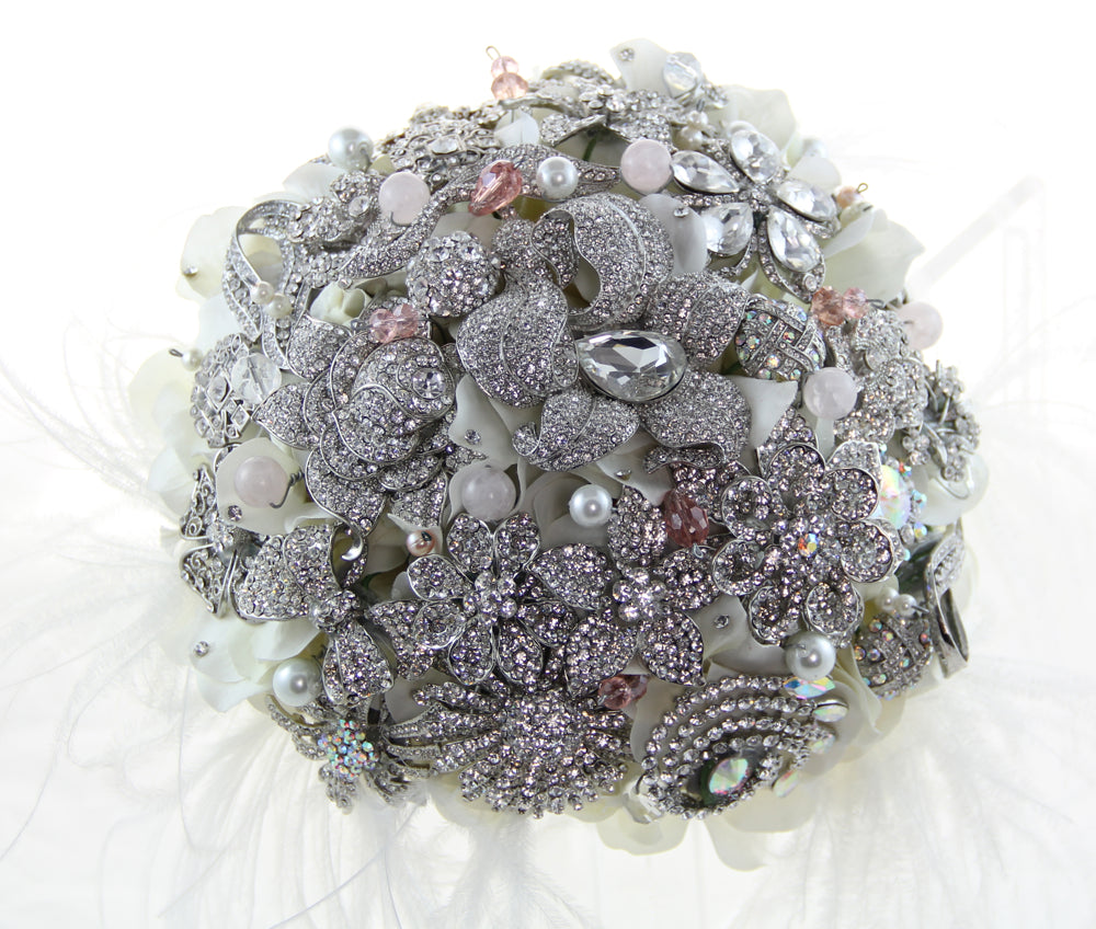 Blushing Bride Brooch Bouquet with Matching Boutonniere