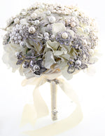 Flower me in Pearls Brooch Bouquet with Matching Boutonniere
