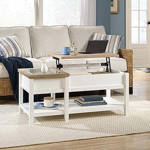 Sauder Cottage Road Collection Lift Top Coffee Table - Soft White Finish with Lintel Oak Accent