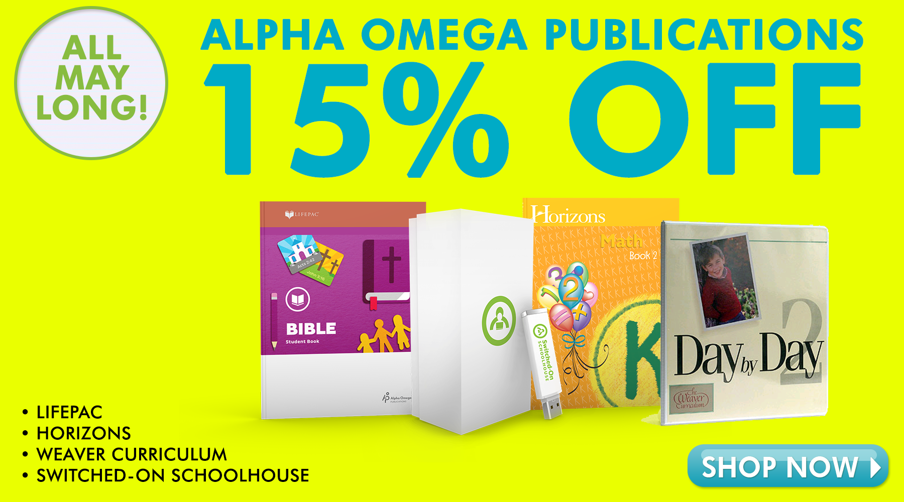 Alpha Omega Publications (AOP) 15% off all May long
