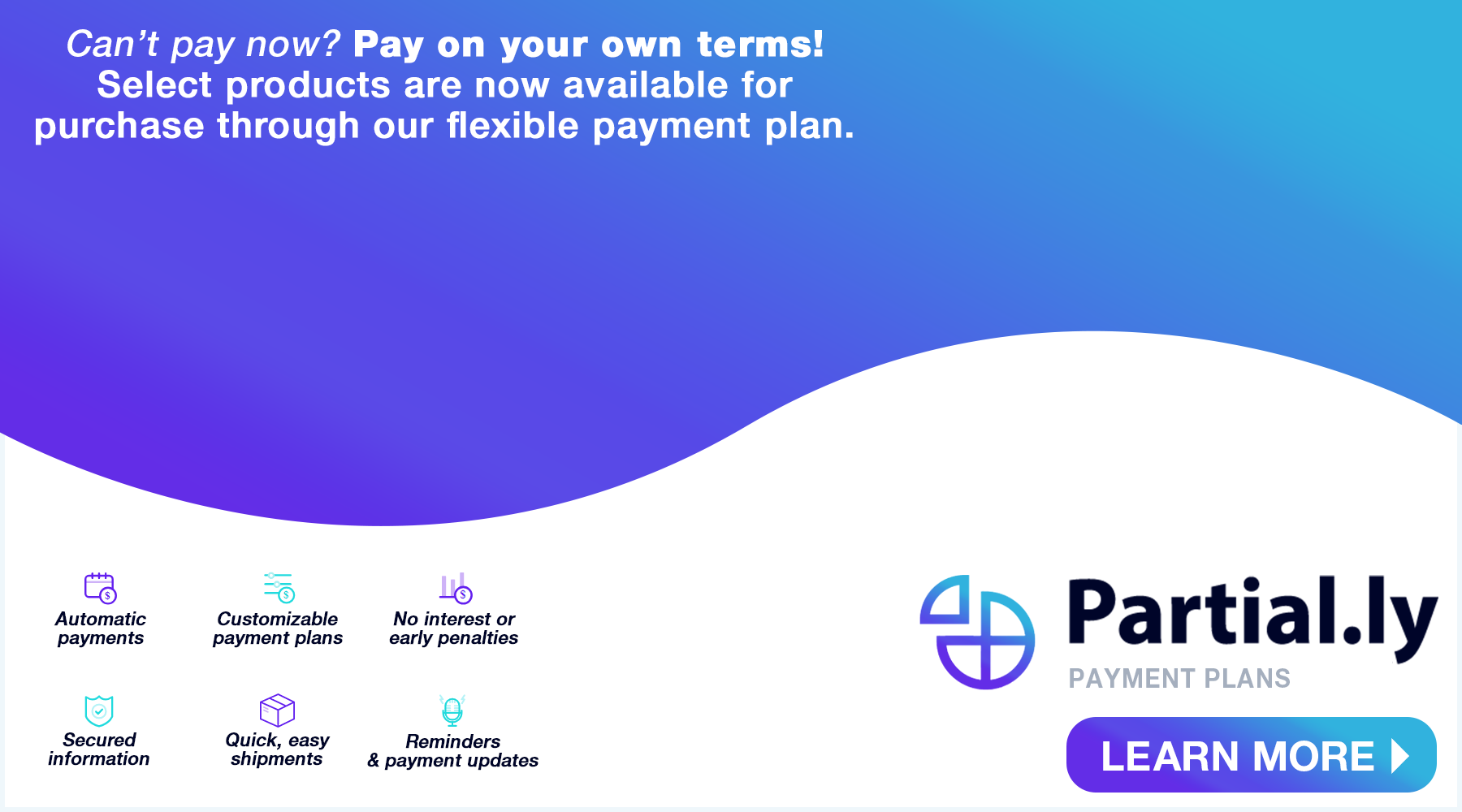 Flexible payment methods with Partial.ly