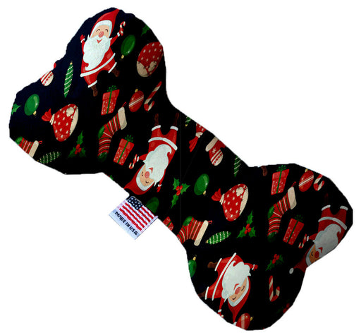 Santa Fun 10 Inch Canvas Bone Dog Toy