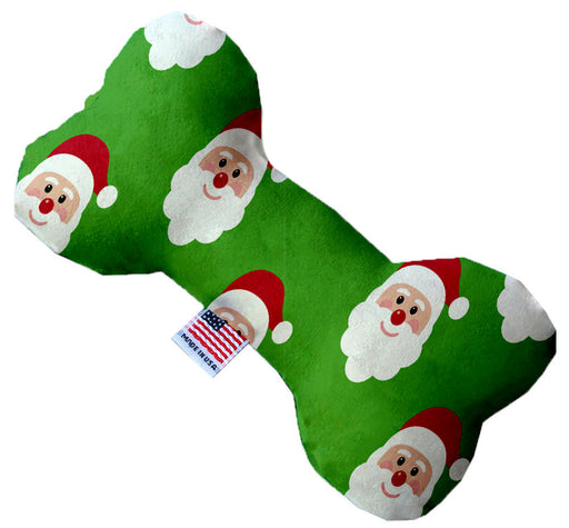 Smiling Santa 8 Inch Canvas Bone Dog Toy