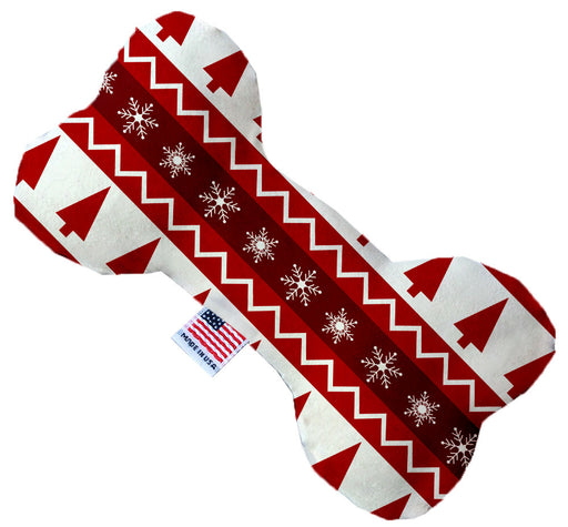 Red Classic Christmas 8 Inch Canvas Bone Dog Toy