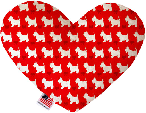 Christmas Westies 6 Inch Canvas Heart Dog Toy