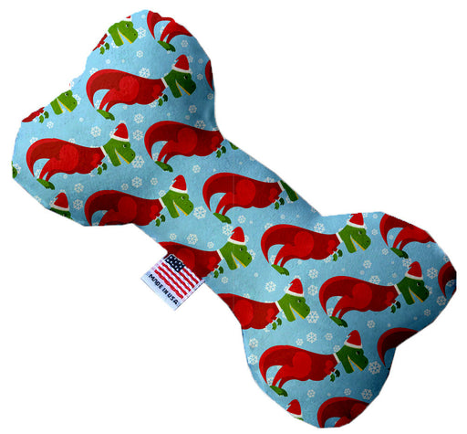 Christmas T-rex 10 Inch Canvas Bone Dog Toy