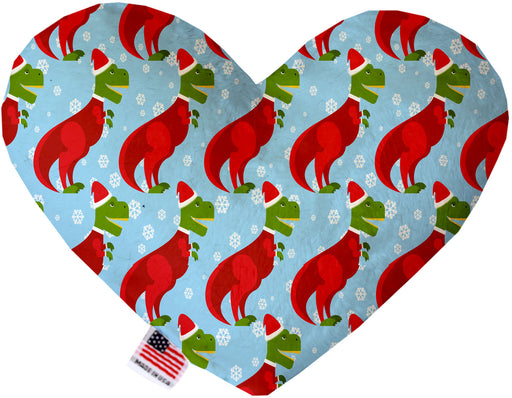 Christmas T-rex 6 Inch Canvas Heart Dog Toy