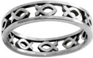 Ring-Cutout Ichthus-Style 433-(Sterling Silver)-Size  8