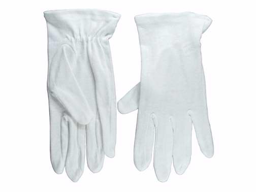 Gloves-Usher Solid White Cotton-Small