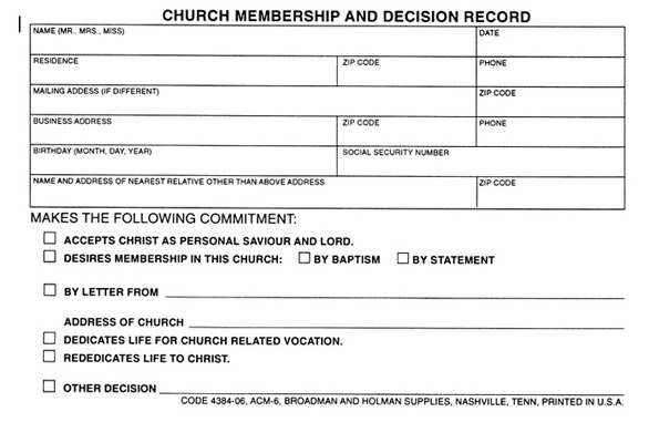 Form-Church Membership And Decision Record (Form ACM-6) (Pack of 100) (Pkg-100)