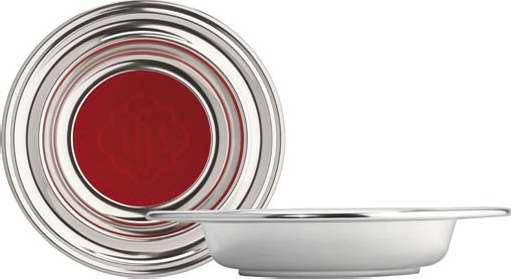 "Offering Plate-Silvertone-Anodized Aluminum (Red IHS)-9"" (RW 209A)"