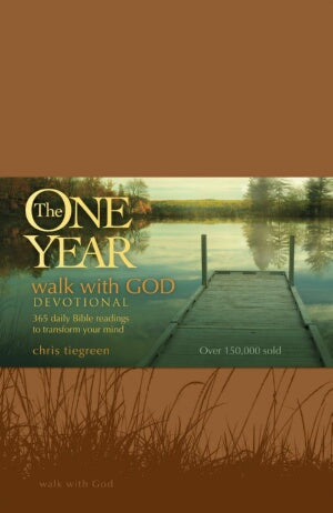 One Year Walk With God Devotional-Tan LeatherLike