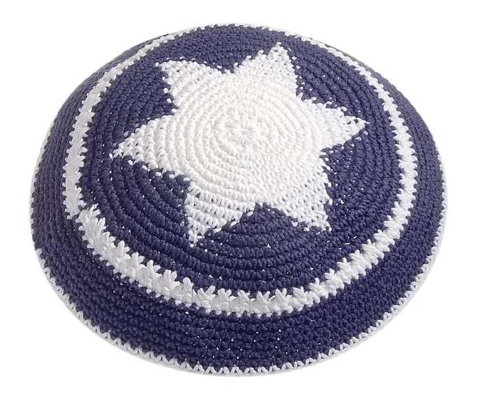 Kippah-Crocheted-Blue W/White Star of David