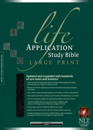 NLT2 Life Application Study/Large Prt-Blk Bond-Ind