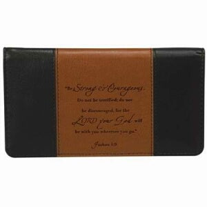 Checkbook Cover-Strong & Courageous-Brn/Tan