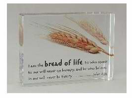 Plaque-Rectangle Crystal Block-Bread Of Life-Jn 6
