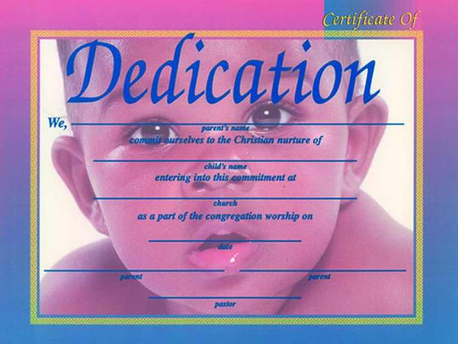 "Certificate-Dedication-Baby (African-American) (4 Color) (8-1/2"" x 11"") (Pack of 6) (Pkg-6)"