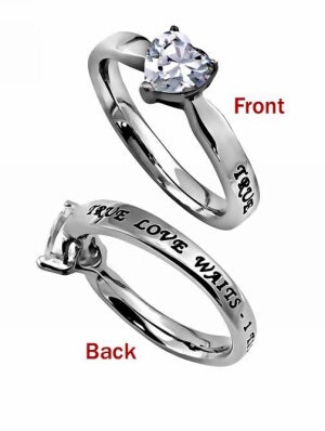 CZ Heart-True Love Waits-Sz  5 Ring