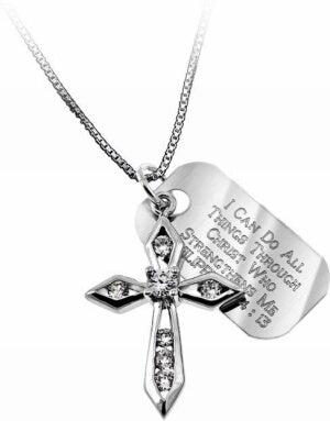 CZ Big Makaira Cross-All Things (Phil 4:1 Necklace