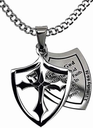 2 Pc Shield Cross-Man Of God (1Tim 6:11) Necklace