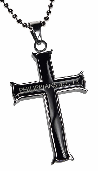 "Necklace-Black Iron Cross-I Can Do All Things (Phil 4:13) (20"")"