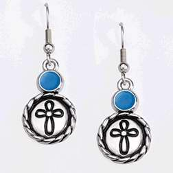 Earring-Ribbon Cross w/Rope Edge & Aqua Epoxy-Pewter