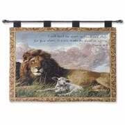 Wall Hanging-Lion And The Lamb w/Psalm 4:8 (Tapest