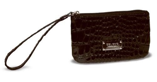 Wristlet-Croco-Black-Believe (6.25 x 4.12 x .05)