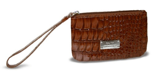 Wristlet-Croco-Brown-Faith (6.25 x 4.12 x .05)