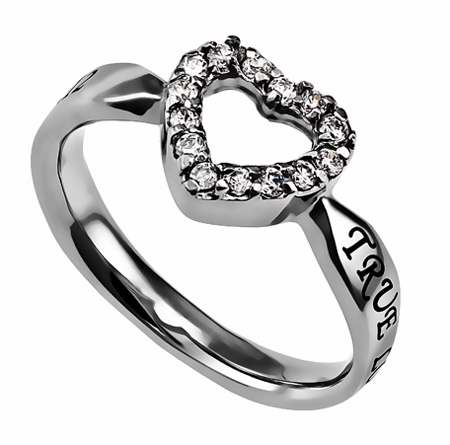 Ring-CZ Open Heart-True Love Waits-Sz  8