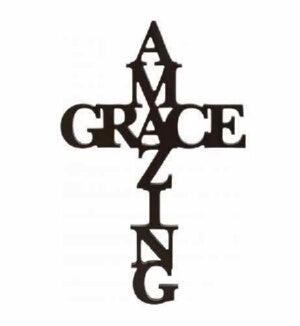 Wall Cross-Script Words-AMAZING GRACE-Blk (12 x 30