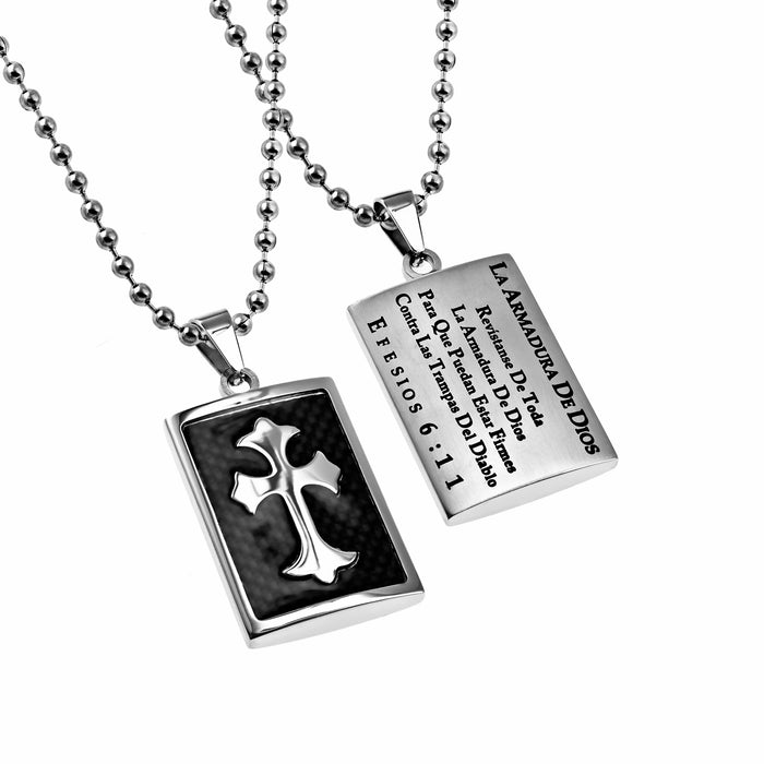 Span-Necklace-Deluxe Shield Cross Black Graphite-Armor Of God (Mens)-20""