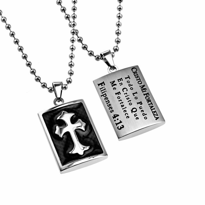 Span-Necklace-Deluxe Shield Cross Black Graphite-Through Christ (Mens)-20""