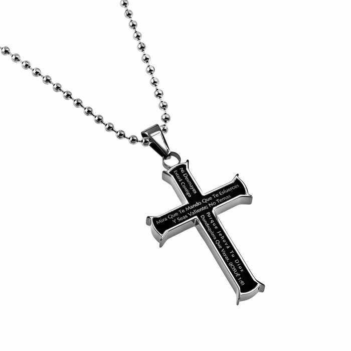 "Span-Necklace-Black Iron Cross-Courage (Mens)-20"" Chain"
