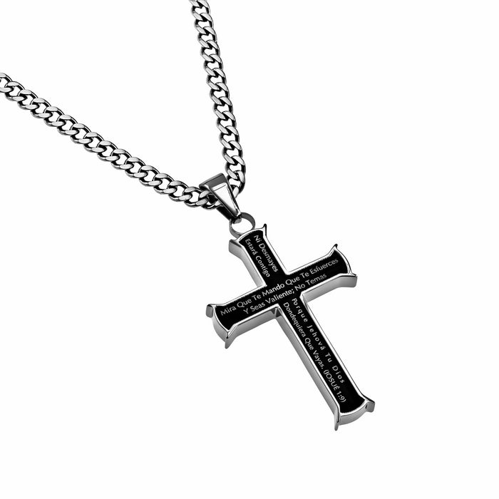 "Span-Necklace-Black Iron Cross-Courage (Mens)-24"" Chain"
