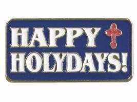 Lapel Pin-Happy Holydays! W/Red Cross-Blue/White (Pack of 12) (Pkg-12)