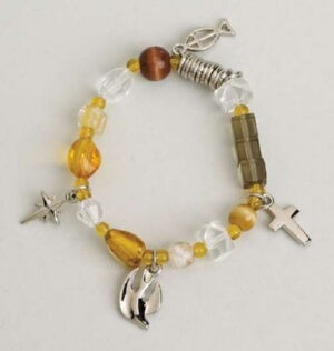 Christs Story-Bead & Charm-Neutral-Stretc Bracelet