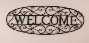 Wall Sign-Welcome-Oval-Blk (34.5 x 12.75)