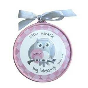 Wall Plaque-Little Miracle Big Blessing w/Owls-Pin