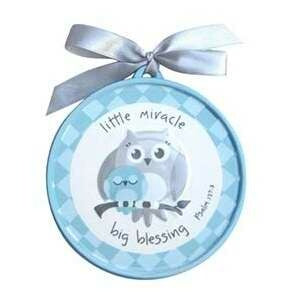 Wall Plaque-Little Miracle Big Blessing w/Owls-Blu