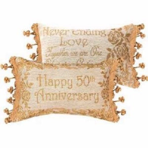 Pillow-Happy 50th Anniversary-Gold (12.5 x 8.5)