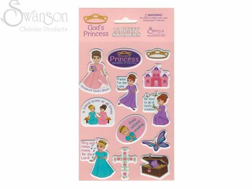 Sticker-Gods Princess (Puffy)-12 Count (Pack of 10) (Pkg-10)