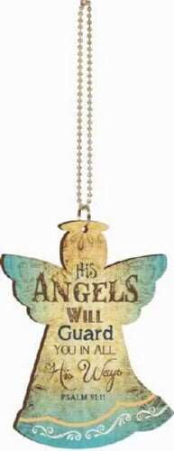 Car Charm-Angel-His Angels Will Guard You... w/Chain