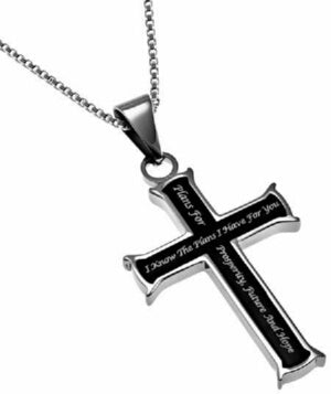 Black Cross-I Know The Plans (Jer 29:11) Necklace